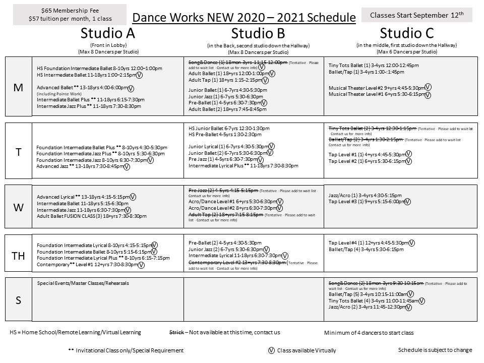 Dance Works 2020-2021 Schedule USE
